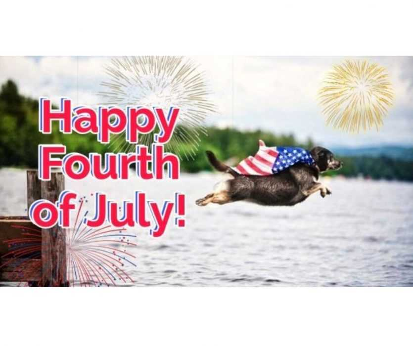 happy 4th of july meme featuring a dog in a stars and stripes cape