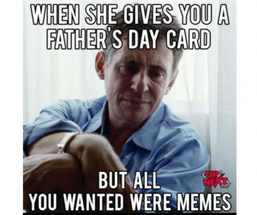 man looking disappointed because he got father's day card but just wanted memes