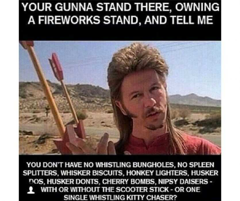david spade with mullet hairstyle asking rhetorically if a fireworks stand owner is going to tell him he doesn't have a certain type of fireworks