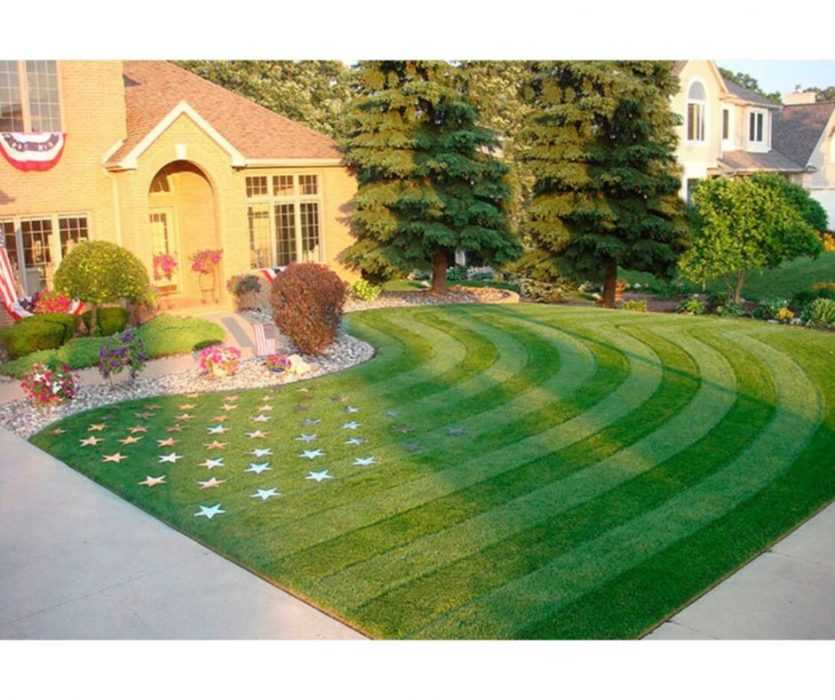 house featuring lawn manicured as stars and stripes