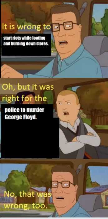 meme about bobby and hank talking about riots