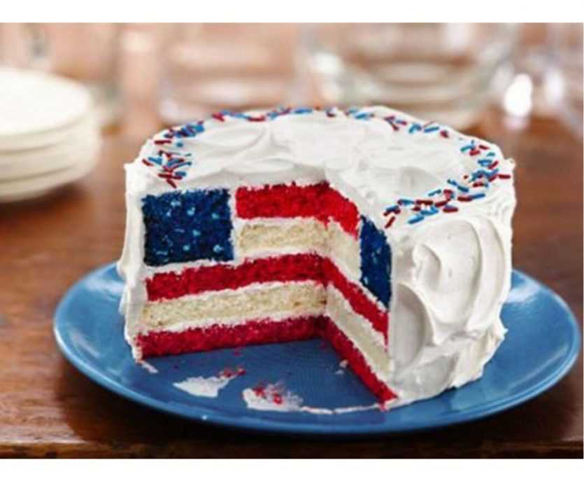 meme of cake featuring stars and stripes on inside