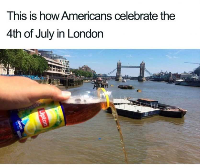 man pouring lipton tea into thames river in london with caption how americans celebrate the 4th of july in london