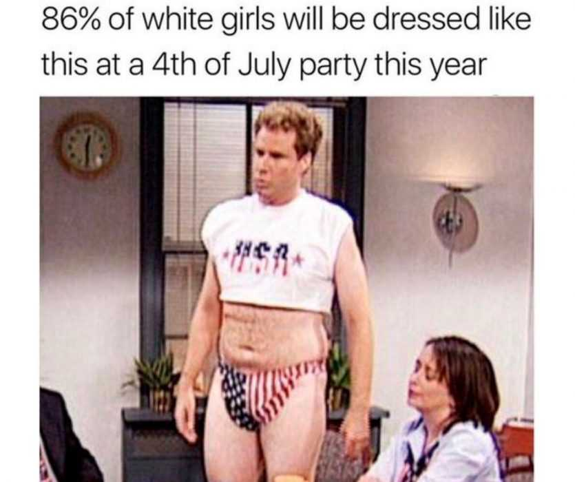 will ferrel dressed in crop top and a stars and stripes bikini bottom with caption saying 86% of white girls be dressed like this on fourth of july