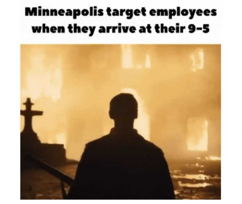 meme about target employees when they arrive at work