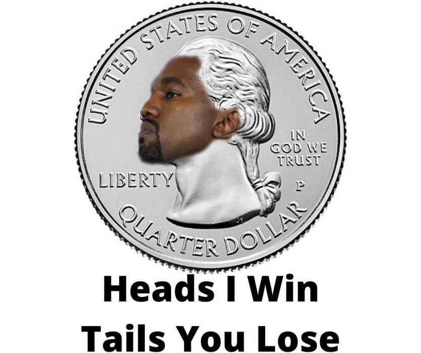 Kanye for president on coin meme