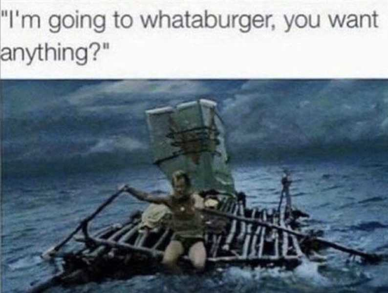 texan on home built raft going to whataburger in hurricane