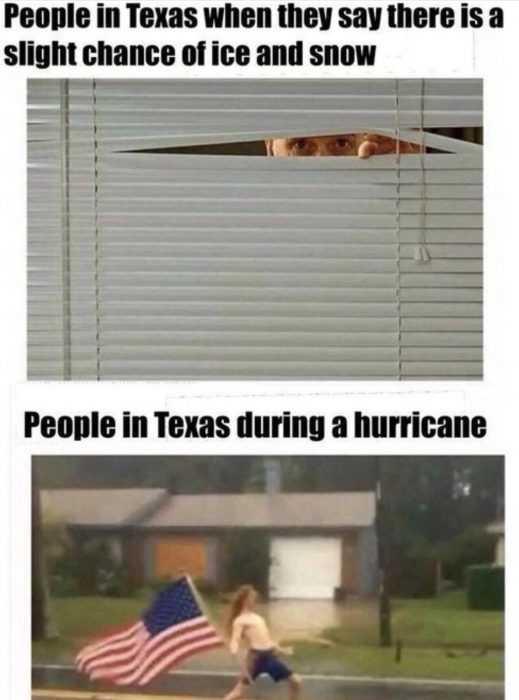 how texans respond to snow vs hurricane