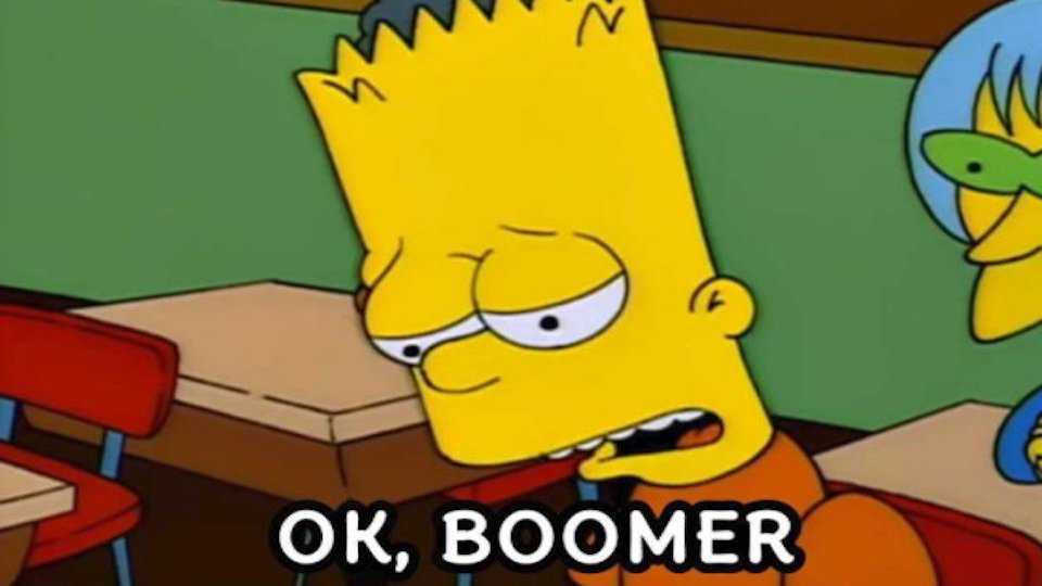 bart simpson ok boomer meme to respond to any criticism