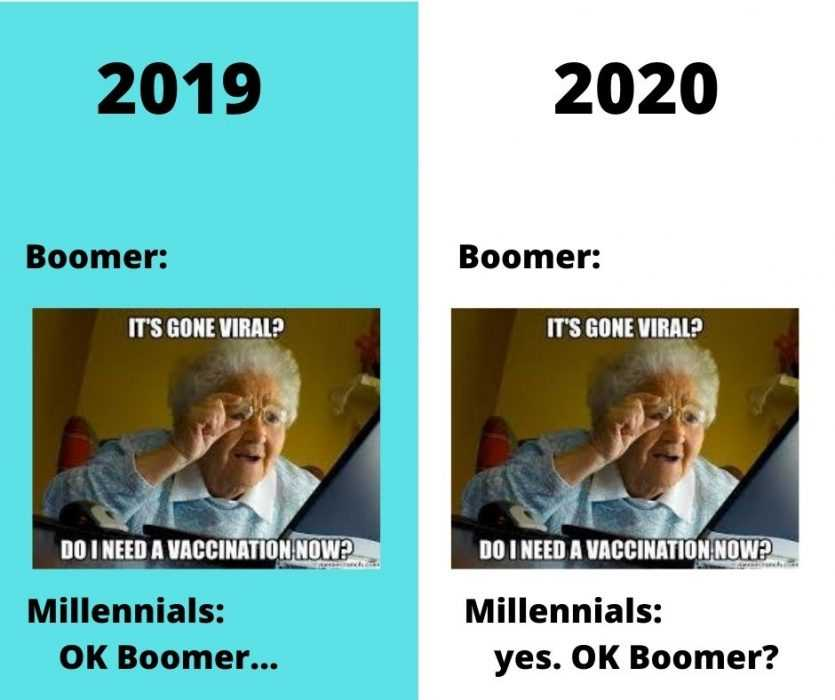ok boomer meme on when boomers ask about going viral