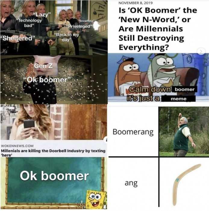 meme comparing ok boomer to n-word