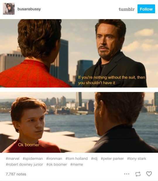 ok boomer meme depicting iron man and spiderman