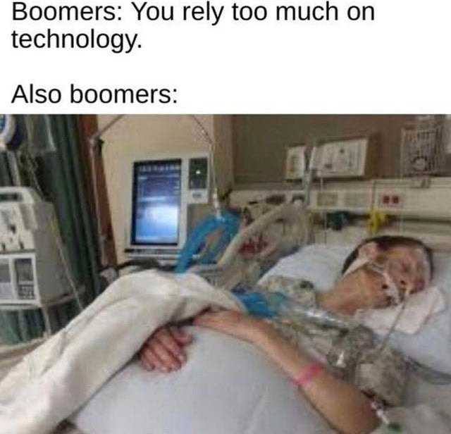 ok boomer meme about boomers complaining young people rely on technology