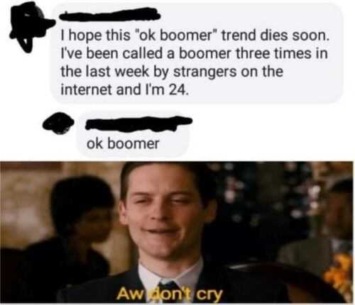 ok boomer meme laughing at 24 year olds getting called boomers