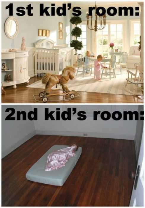 1st kid vs 2nd kid room funny parenting meme