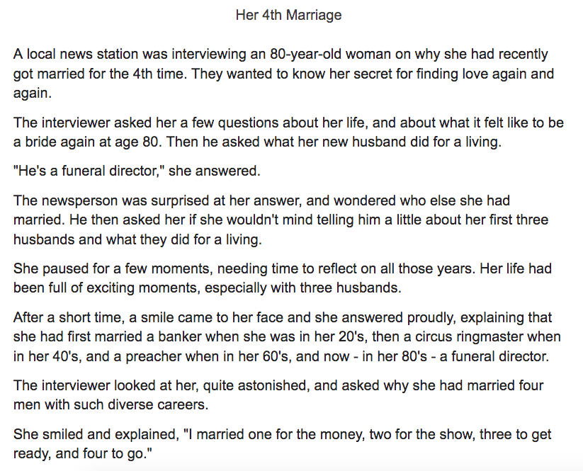 7 Funny Short Stories For Seniors - Marrying For Purpose