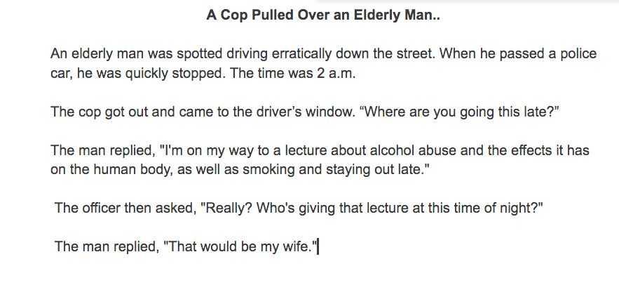 7 Funny Short Stories For Seniors - Speeding Senior