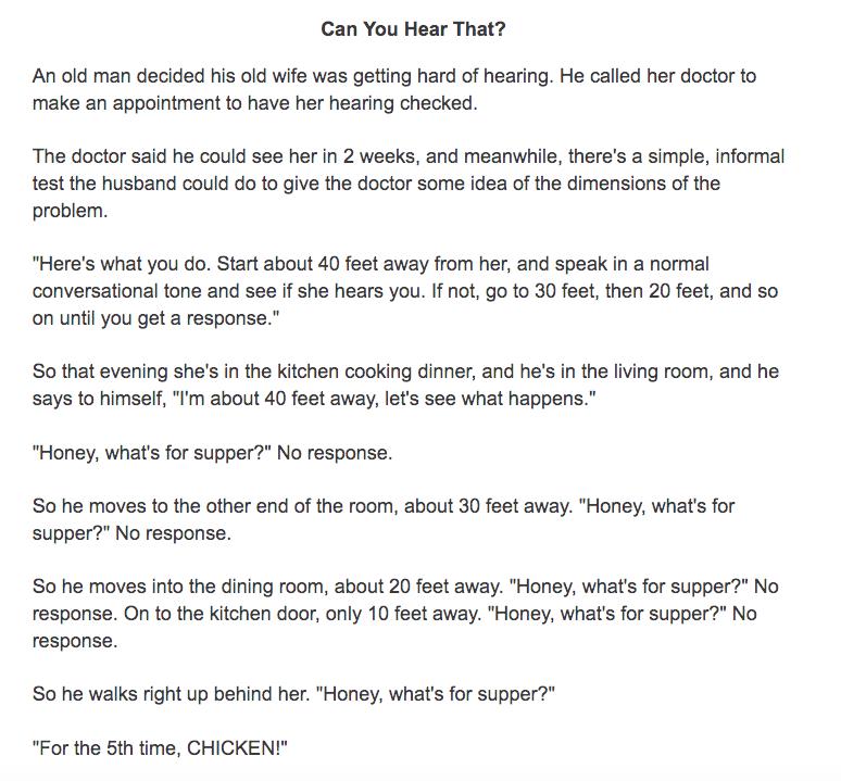 Funny Short Stories For Seniors - Hard Of Hearing