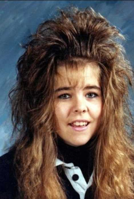 school photo meme of big hair 80's