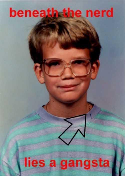 school photo meme of a nerd who's a little gangsta
