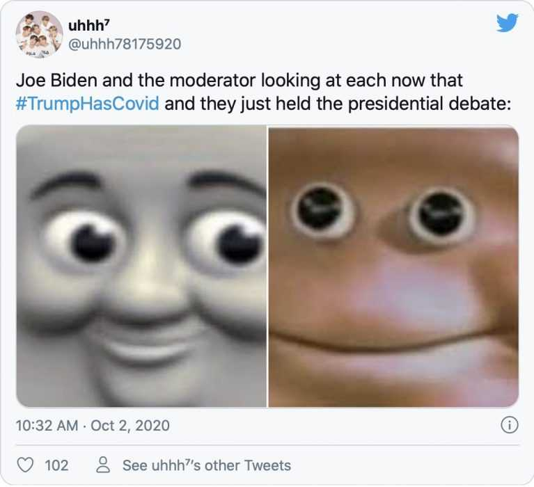 trump covid memes - biden and moderator have uneasy smile after hearing that trump has covid