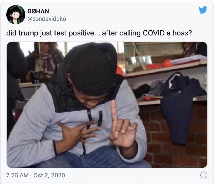trump covid meme - child laughing hysterically captioned by did trump just test positive ... after calling covid a hoax?