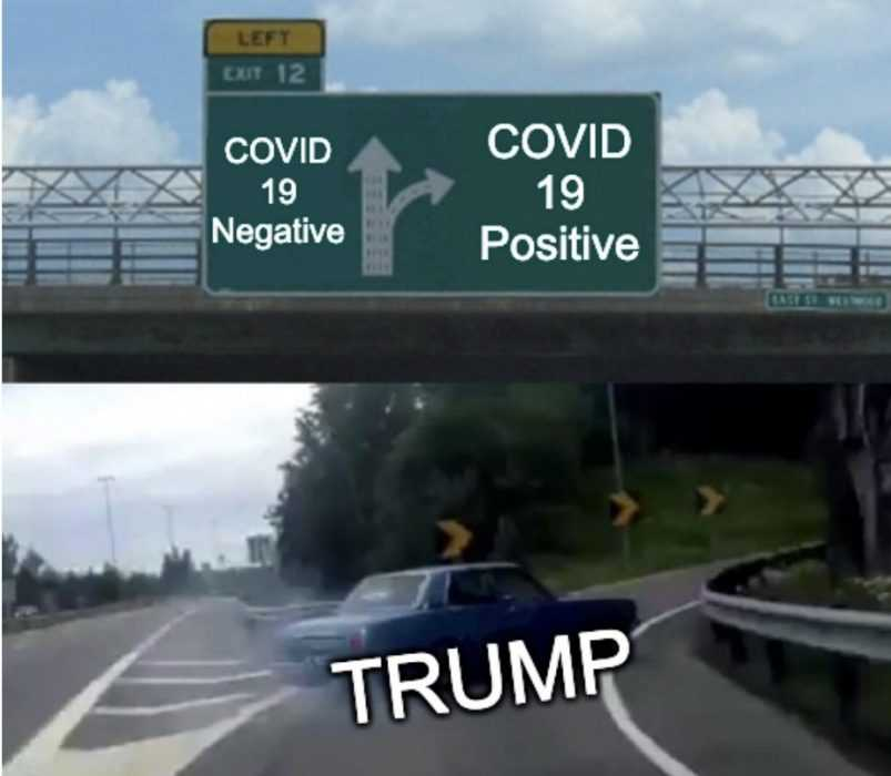 trump covid positive memes - car veering off road meme with car labeled trump and off ramp labeled covid 19 positive