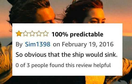 funny amazon review - titanic