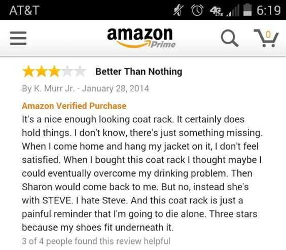 funny amazon review - coat rack