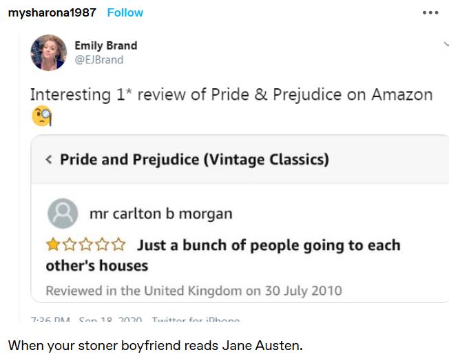 funny amazon review - pride & prejudice