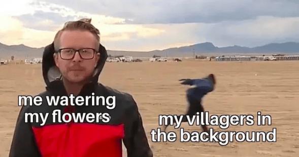 Funny animal crossing meme - villagers run