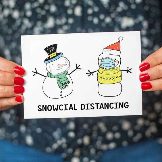 funny christmas card fails - snowcial distancing