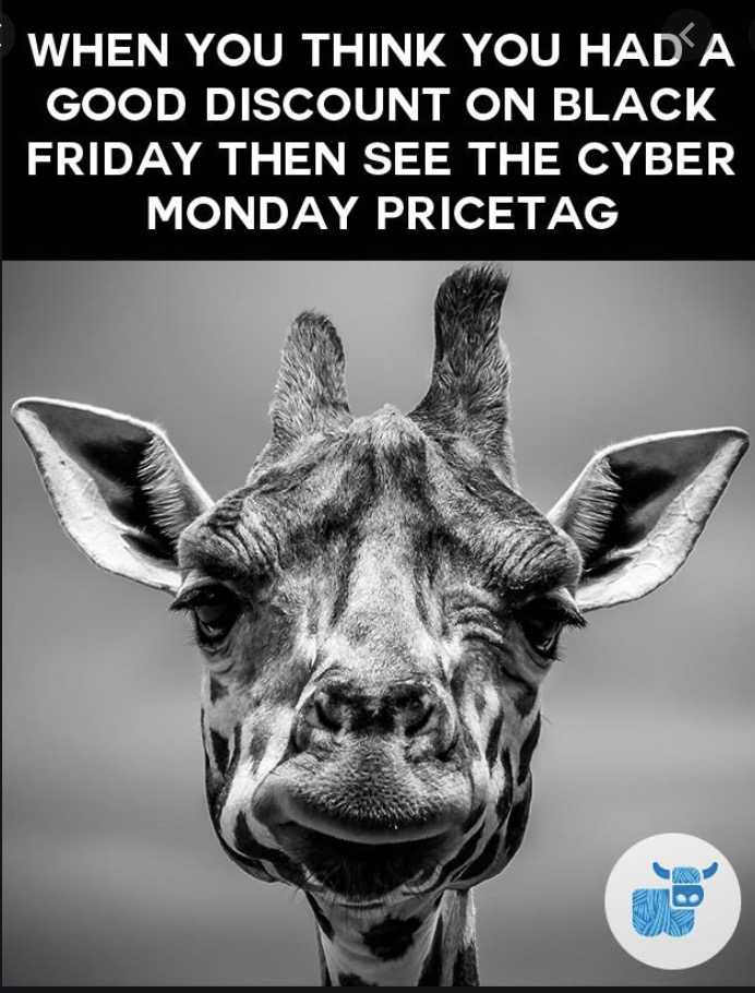 cyber monday animal meme - sad giraffe