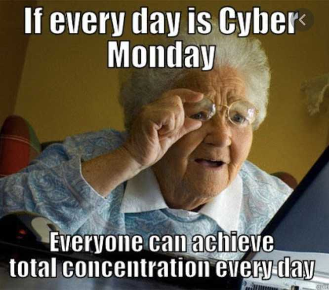 cyber monday meme - concentrating hard