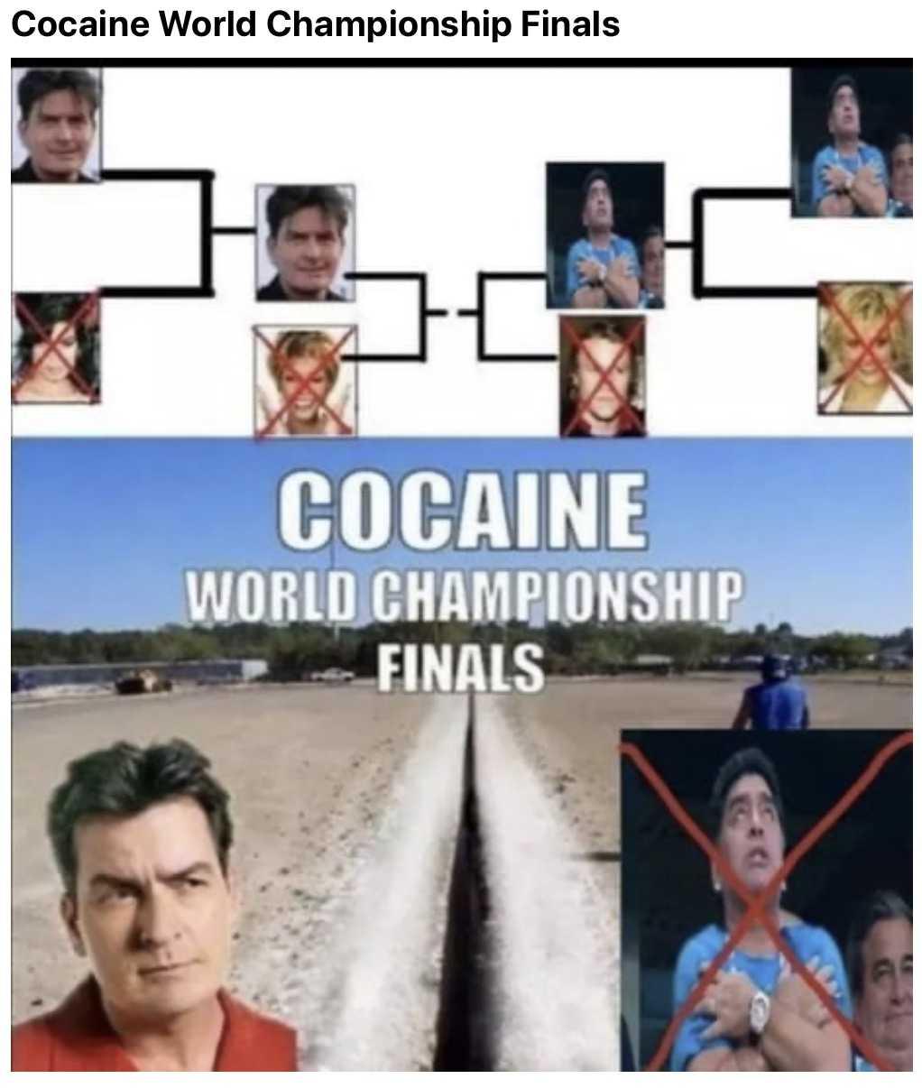 funny Maradona memes - cocain world championships