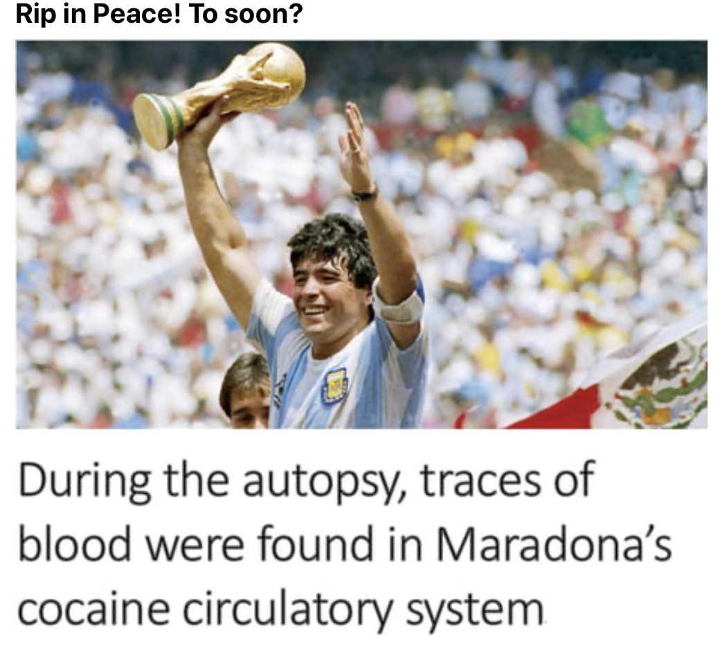 funny Maradona memes - blood was found