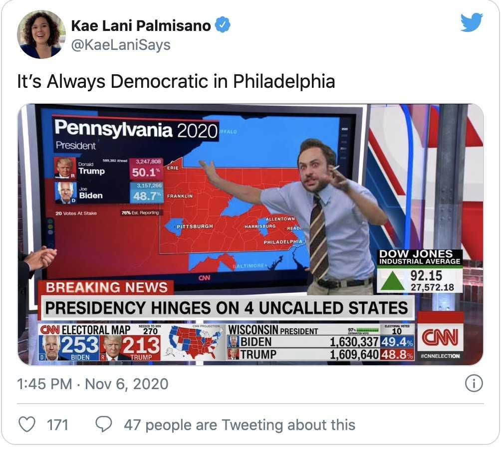 trump election defeat memes - pennsylvania always democratic