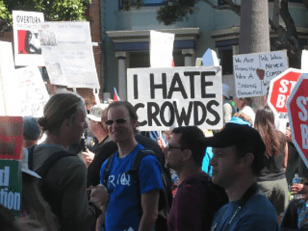 funny protest sign memes - i hate crowds