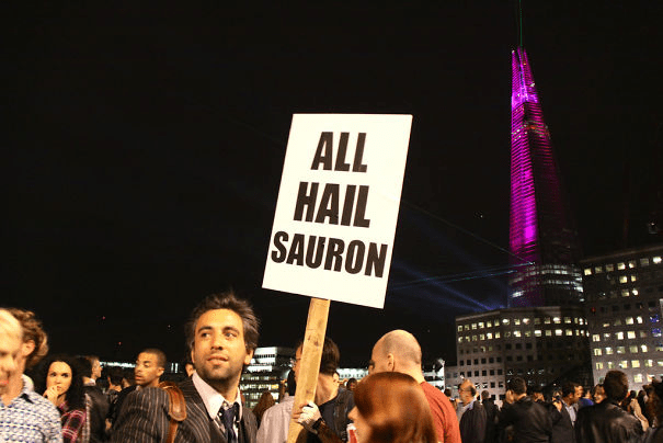 funny protest signs - all hail sauron