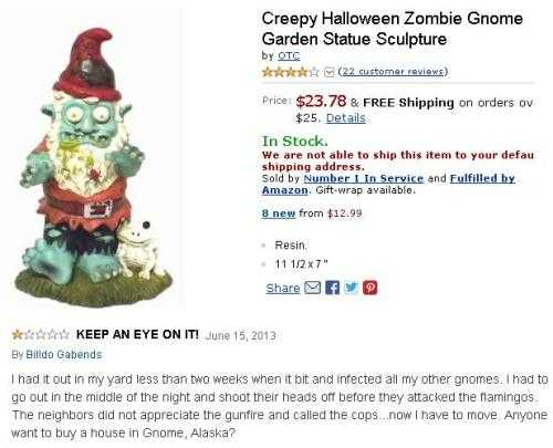 funny amazon review - creepy zombie gnome