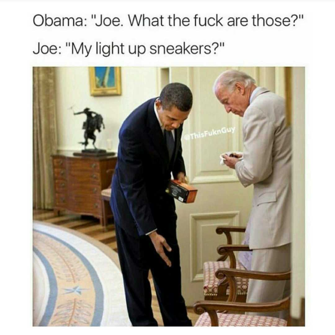 Obama and Biden Memes - light up sneakers