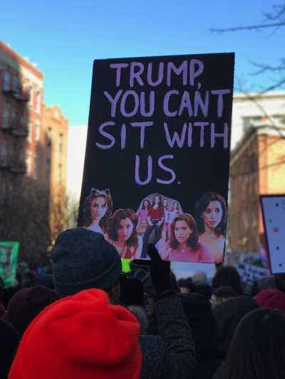 funny protest signs - trump you can't sit with us