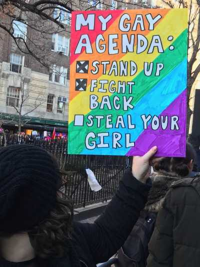 funny protest signs - gay agenda