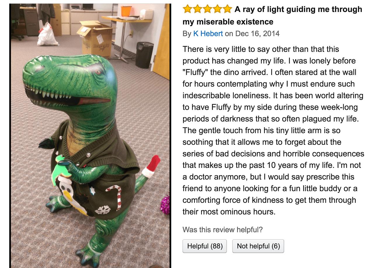 funny amazon review - dinosaur