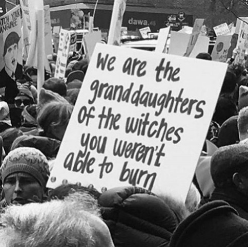 funny protest sign memes - granddaughters of witches you couldn't burn