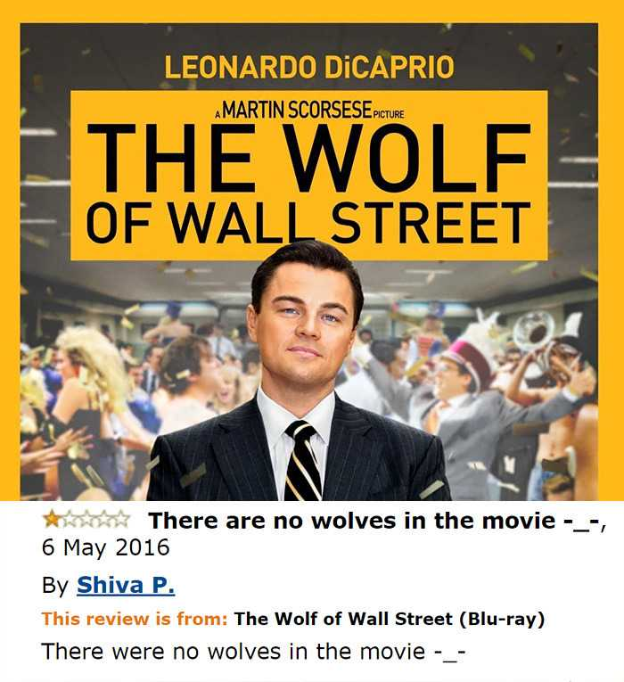 Funny Amazon Reviews - no wolves in wolf of Wall Street
