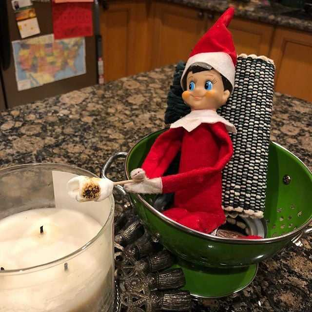 2020 Elf On The Shelf Ideas - Roasting Marshmallows Over Candle