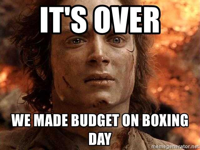 Boxing Day Memes - budget for boxing day