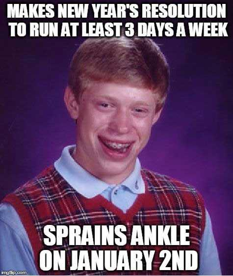 Funny New Years Resolution Memes - sprains ankle