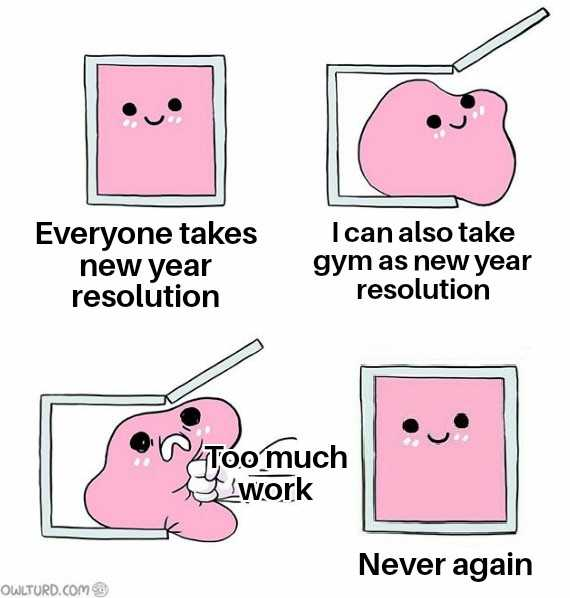 Funny New Years Resolution Meme - too much work